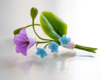 Purple flower brooch pin Bellflower Forget me not flower pins Wedding brooches Boutonniere flowers for prom Campanula Forget me not jewelry