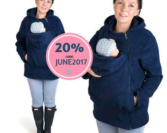 BASIC Babycarrying jacket Baby carrier hoodie Kangaroo coat/jacket for Mom and BABY, baby wearing hoodie size  NAVY NP12