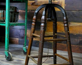 Vintage Machine Age Cast Iron & Wood Industrial Drafting Stool With Swivel Crank Seat