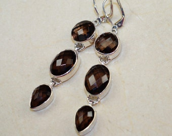 Long Faceted Smokey Topaz set in Solid 925 Sterling Silver Earrings