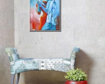 Canvas Art, Living Room Art, Original Artwork, Dancers Art, Wall Art Canvas Oil Painting, Dancers Painting, Dancers Wall Art, Couple Dancing
