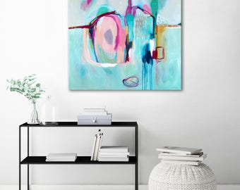 Turquoise abstract painting print large, blue canvas abstract print, large abstract canvas art, blue, pink, gray abstract art print, modern