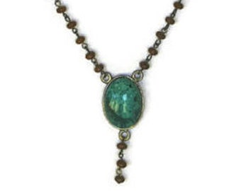 Boho Faux Turquoise Oval Pendant Necklace, On Brown Wood Bead Chain