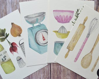 KITCHEN PRINTS SET, watercolor cookware, cookware prints, watercolor illustration, kitchen illustration set, kitchen decor, art wall