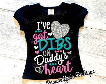 Fathers day shirt, girls fathers day shirt, I've got Dibs on daddy's heart shirt, Daddy's girls shirt, trendy girls shirt, I love dad shirt