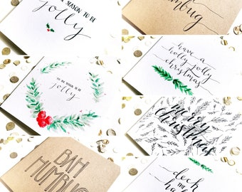 Multi-pack of Christmas cards, typography, calligraphy, watercolour