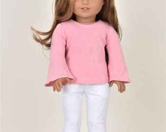 Bell Sleeve top 18 inch doll clothes Dusty Pink