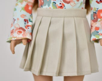 Pleated Skirt   18 inch doll clothes Khaki
