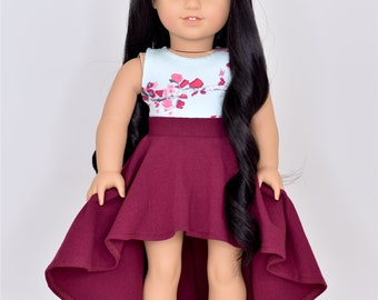 High Low Skirt  18 inch doll clothes Burgundy