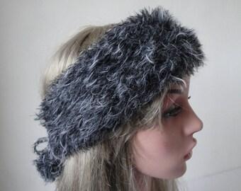 faux fur headband, knitted headwarmer, pompom earwarmer, grey 'fur' headband, luxury knit headband, adjustable earwarmer, vegan headband