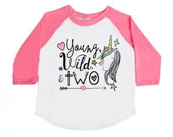 Young Wild and Two Birthday Shirts - Unicorn Birthday Shirts - Two Year Old - 2nd Birthday - TWO - Rainbow Birthday Shirts - Girls' Shirts