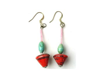 Simple Earrings, Dangle Earring, Drop Earring, Origami Earring, Red Earring, Textured Earring, Ear Art, Native Earring's, Christmas Gift