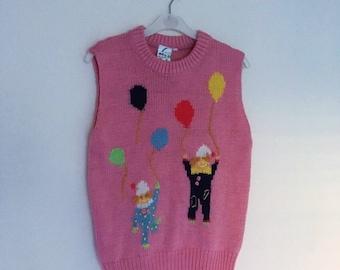 Vintage Dead Stock 80's Pink Wool Clown Balloon Knitted Vest. sz S.