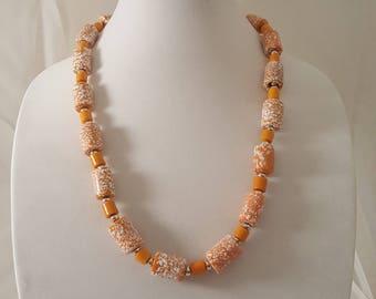 Orange & White Necklace - Orange Necklace - White Necklace - Freckled Necklace - Orange Jewelry - White Jewelry - Freckled Jewelry - Orange