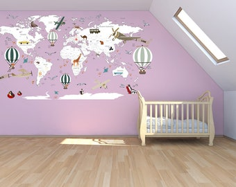 World map decal etsy airplane world map decal clear vinyl decal boys room decals world map mural gumiabroncs Images