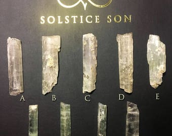 Hiddenite Green Kunzite, Spodumene Inclusions - natural raw rough stone crystal energy reiki healing
