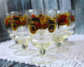 Set of 6 Soviet glasses with car Old Glassware Set Champagne glasses Shot glasses Russian tableware Wine Glasses Russian glass