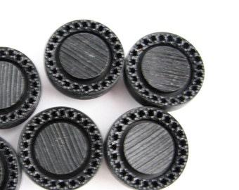 "5 large black shank buttons, vintage coat buttons, 28 mm - 1 1/8"", still unused!!"
