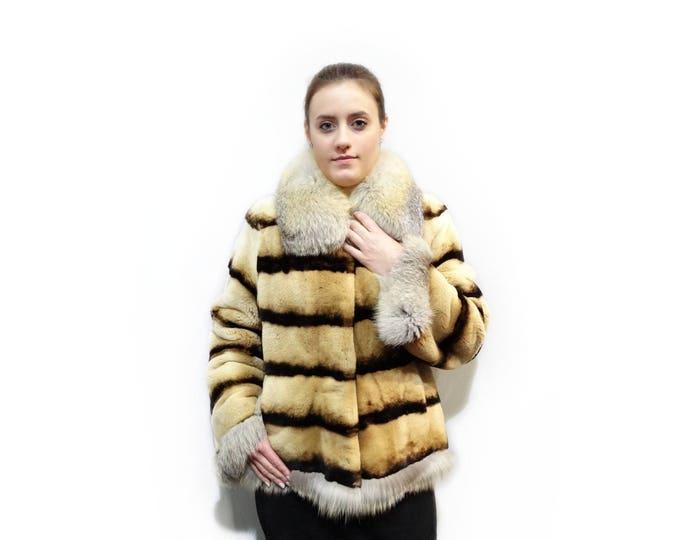 Real Mink Fur Sheared with Fox Collar F135