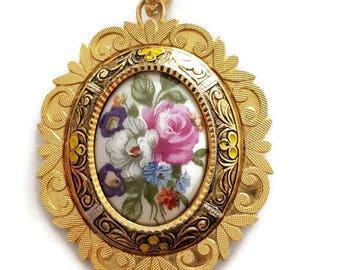 vintage Toledo pendant, damascene pendant