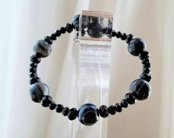 Natural Black Onyx Semi-Precious Gemstone Bracelet, Bangle, Chakra, Protection Stones