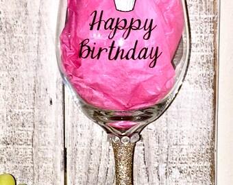 FREE SHIPPING!!! Happy Birthday Wine Glass, Personalized Wine Glass, Birthday Age Wine Glass, Cupcake, Personalized Birthday Glass