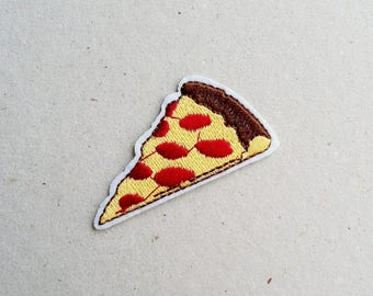 Pizza patch, iron on patch, sew on patch, food applique, patch embroidery, patches for jackets, applique design, backpack patches, fun patch