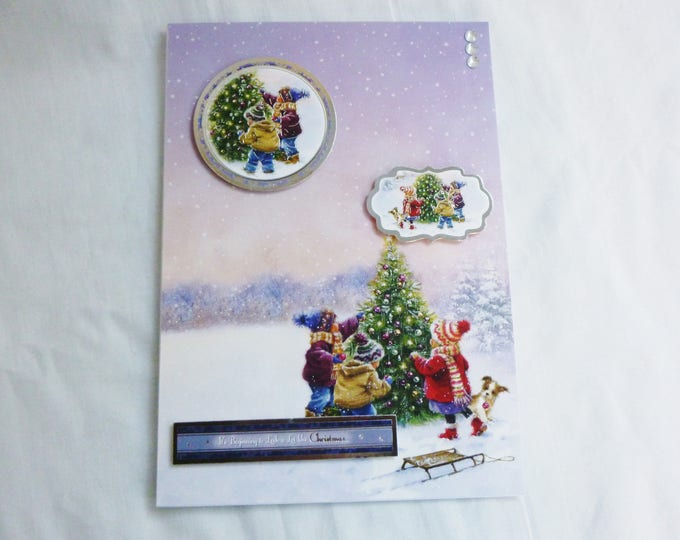 Christmas Greeting Card, Children Decorating a Christmas Tree, Any Age, Male or Female, Mum, Dad, Sister, Brother, Niece, Nephew, Aunt,Uncle