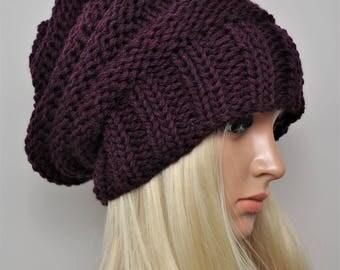 Slouchy beanie hat, Slouchy hat, Knit beanie, Knit hat, Knitted beanies, Merino Wool beanie. Hand knit hat, Oversized beanie,