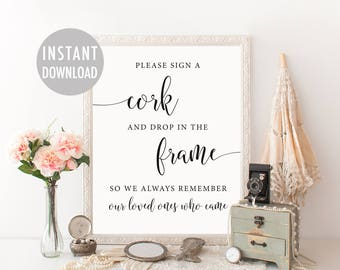 Wine Cork Wedding Guest Book, Printable Wedding Cork Sign, Vineyard Wedding Guest Book, Rustic Sign A Cork, Alternative Guest Book Sign