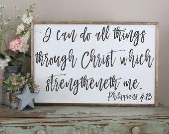 I Can Do All Things Through Christ Framed Sign, Philippians 4:13 Inspirational Sign, Distressed Sign, Bible Verse Wood Framed Sign, Strength