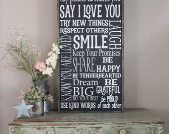 Family Rules Sign Personalized Living Room Wall Art I Love You Home Decor
