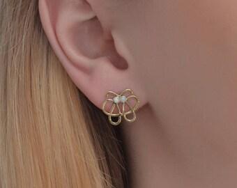 2mm Opal Stud Earrings Gold, Green Opal earring studs, 20 gauge cartilage earring stud, Post earrings, Helix earring stud, Conch jewelry