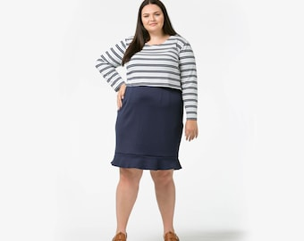 Super comfortable cotton striped Rock The Crop - long sleeved croptop made in all sizes
