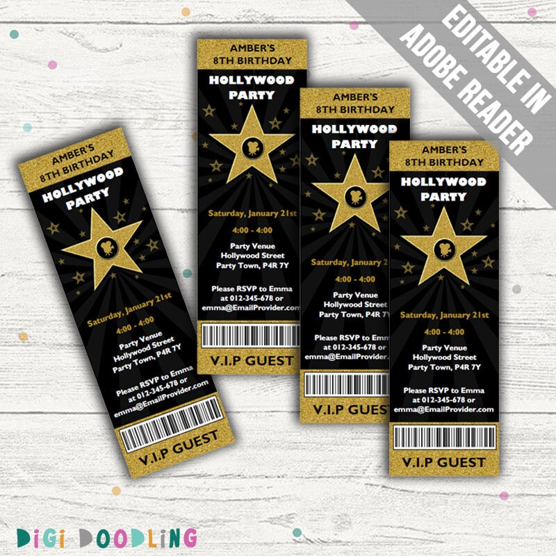 Hollywood Party Invitations. Editable PDF. Printable. Instant