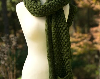 Scarf with Pockets in Dark Olive - Fisherman Pattern Hand Knit Shawl with Fringe - Anse La Ray Scarf - Green Winter Fashion Gift