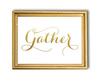 Gather Sign Gold Wall Decor Large Print Kitchen