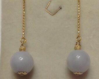 Type A Lavender Jadeite Earrings, Gold Threader earrings, Vermeil Gold Threader Earrings, Lavender Jade Earrings