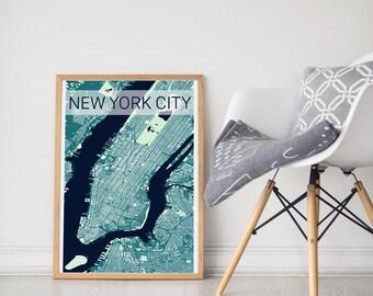 New York City Map / New York City Poster / NYC Print/ New York City Art / New York City Print / NY Building Map/ Manhattan / Manhattan Print