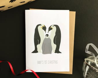 Baby's 1st Christmas Personalised Charity Christmas Card. New baby Penguin Christmas Card. First Christmas Card