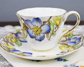Vintage Salisbury 'Adrian' Blue and Yellow Floral Swirled English Bone China Teacup and Saucer, Wedding Tea Party Favor