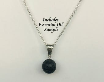 Aromatherapy Jewelry- Lava Stone Pendant Diffuser Necklace, Young Living or doTerra Oils