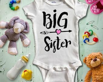 Big Sister Onesie, Custom Baby Onesie, Photo Op Onesie, Baby Bodysuit, Custom Glitter Color, Funny Onesie