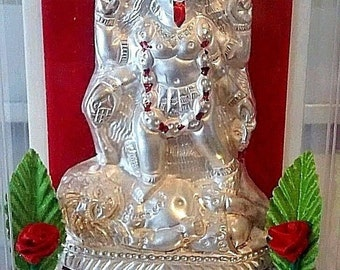 hindu goddess kali repousse silver in perspex mirrored dome