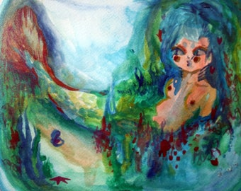 "Sea Beauty mermaid figure watercolor painting art 12 1/2"" 15 3/4"" framed"