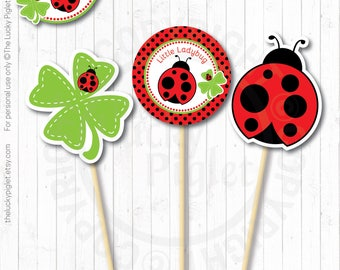 "LADYBUG DECORATIONS, Ladybug Centerpieces, Ladybug Favor tag 3"", Ladybug Birthday Party Prints 