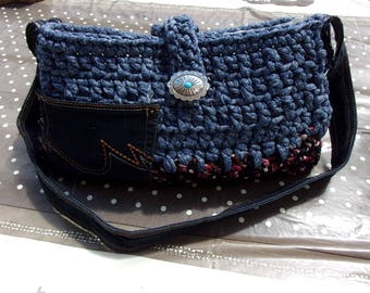 recycled jeans and t shirt yarn bag
