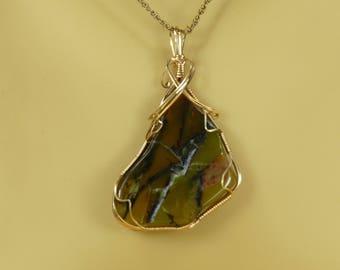 Australian Rosella Opalite Pendant Opalite Wire wrapped Pendant 14K Gold Filled pendant Opalite necklace Opalite jewelry statement piece
