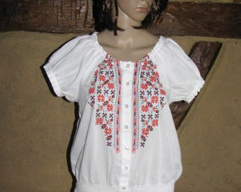 Embroidered BLOUSE vintage folk top white blouse summer hippie