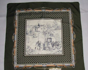 Vintage SCARF royal pattern elegant wrap scarf Jean De Bahrein carriage horse shawl silk scarf picture
